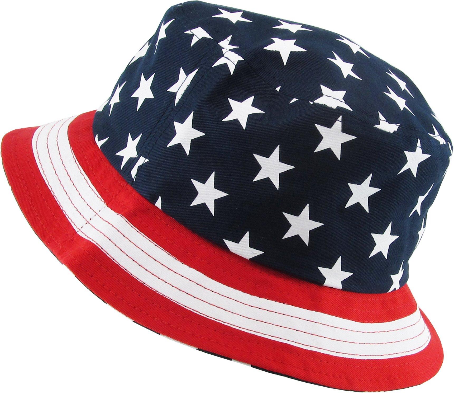KBM-021 NAV USA American Flag Print Bucket Hat Cotton Summer Boonie by KBETHOS (Image #3)