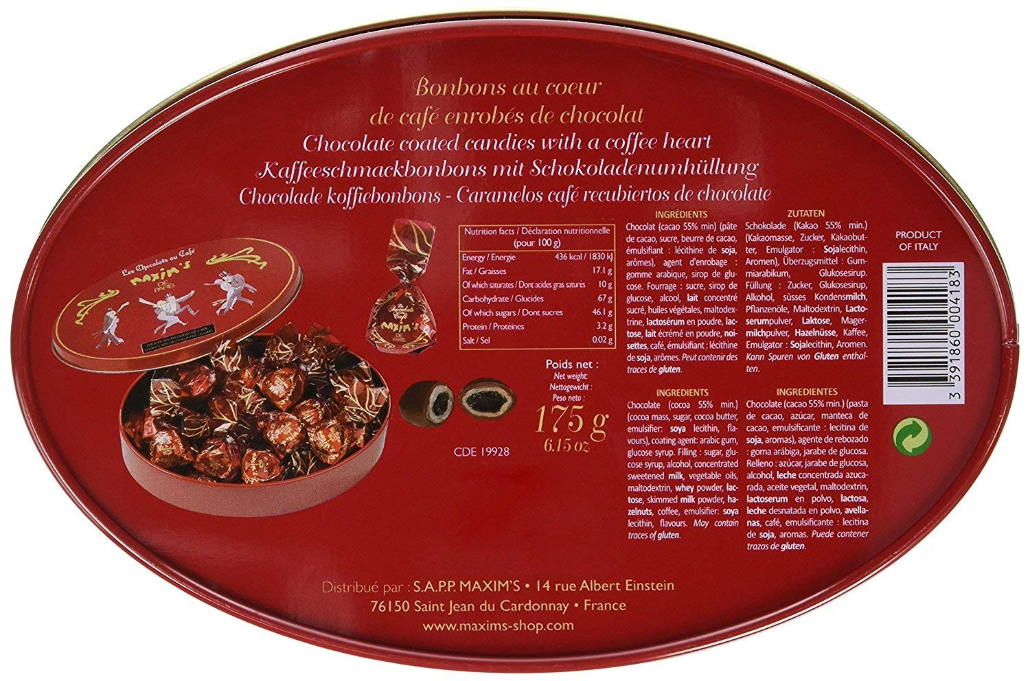 Amazon.com : Maxims de Paris French Gourmet Dark Chocolate Candies with a Heart of Coffee Gift Tin 6.2oz : Grocery & Gourmet Food