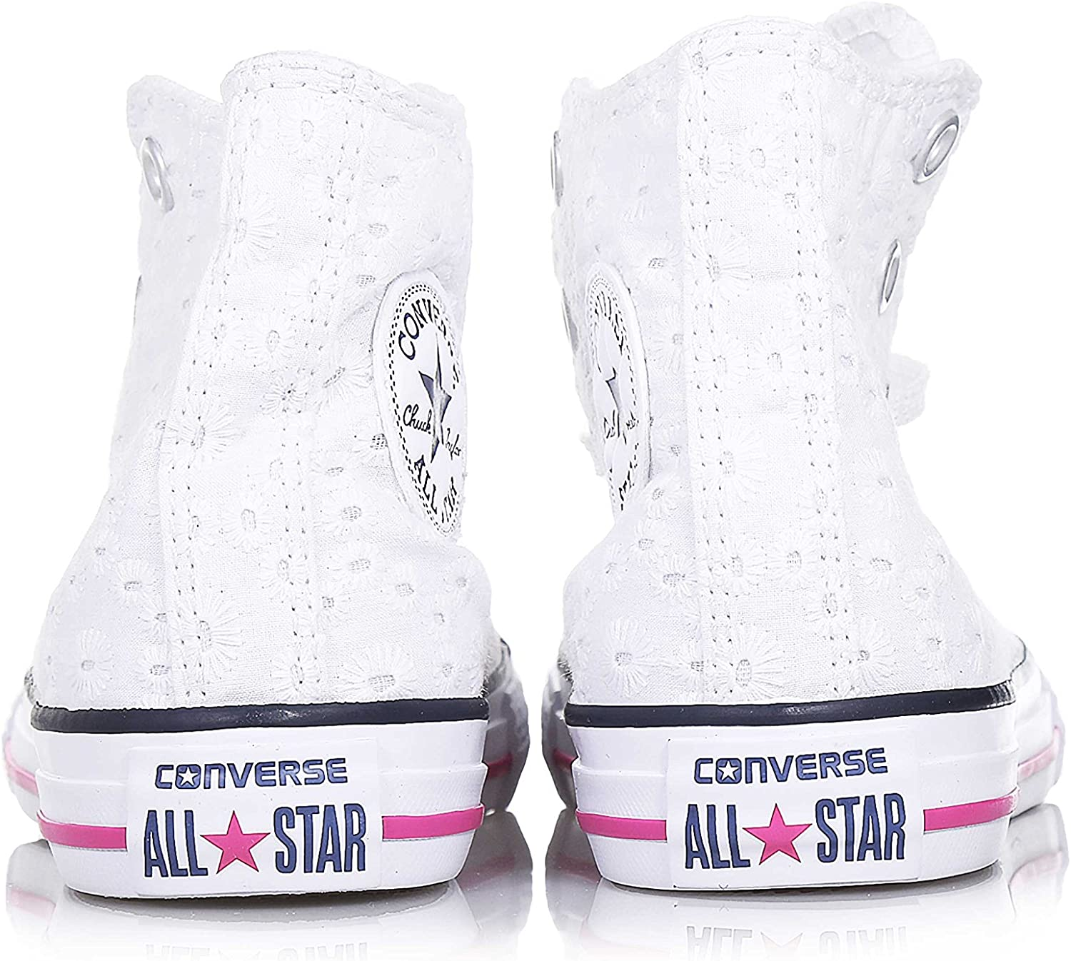 converse blanche brodee