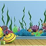 Create-A-Mural Coral Reef & Seaweed, Ocean Wall Decals, Undersea Decor Stickers for Kids Room (34) Underwater Sea Wall Sticke