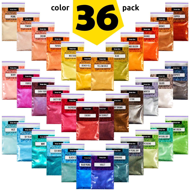 Mica Powder - Soap Making Kit - Powdered Pigments Set - Soap Making dye - 36 Coloring - Hand Soap Making Supplies - Resin Dye - Organic Mica Powder