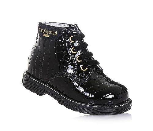 NERO GIARDINI - Botín de cordones negro de charol, made in Italy, con elaboración efecto piel de cocodrilo, Niña, Niñas-18: Amazon.es: Zapatos y ...