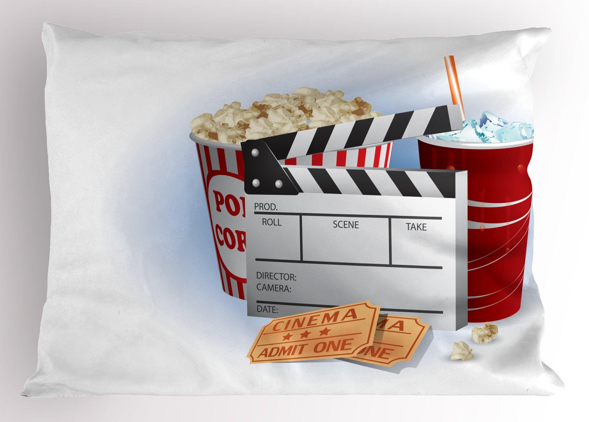 Ambesonne Movie Theater Pillow Sham, Soda Tickets Fresh Popcorn and Clapper Board Blockbuster Premiere Cinema, Decorative Standard Queen Size Printed Pillowcase, 30 X 20 Inches, Multicolor