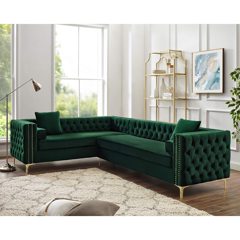 Neo Corner Fabric Sofa Bed (Left, Grey/Green): Amazon.co.uk ...