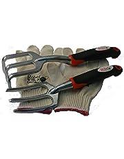 Rebel Trident Duo Cultivator Weeder Raker Gardening Tool Set and Bonus Cotton Gloves by Rebel With A Garden