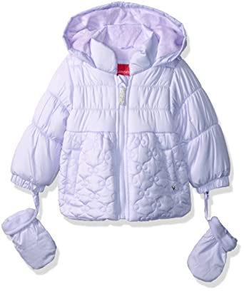 27d7f9ced3d1 Amazon.com  London Fog Baby Girls  Bow Quilt Jacket with Mittens ...