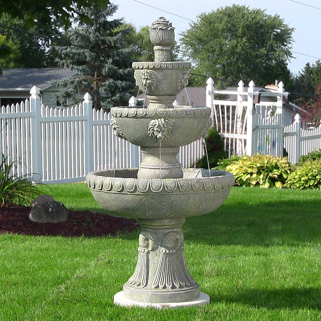Amazon.com : Sunnydaze Four Tier Lion Head Outdoor Water Fountain, Includes  Electric Submersible Pump, 53 Inch Tall : Free Standing Garden Fountains ...