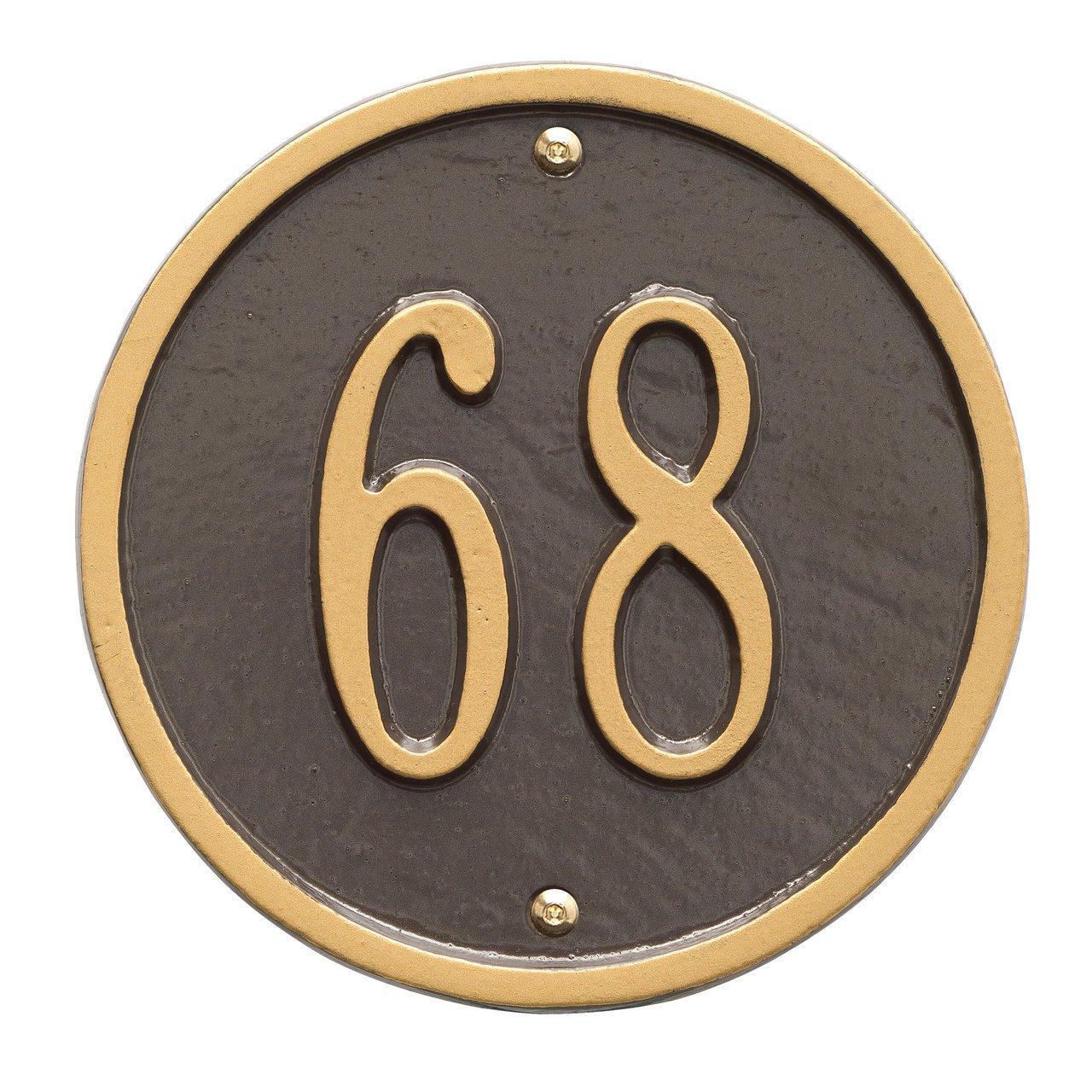 Custom 1 Line - 6'' Diameter ROUND Aluminum Address Plaque