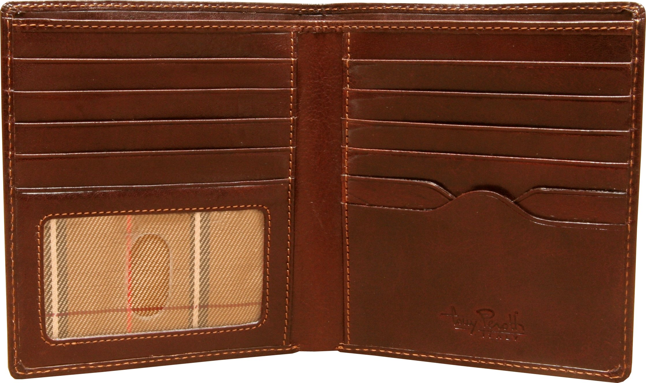 Mens Leather Bifold Hipster Wallet Large with ID Window and Multi Business and Credit Card Holder Slots made with Real Italian Cowhide Leather by Tony Perotti by Tony Perotti