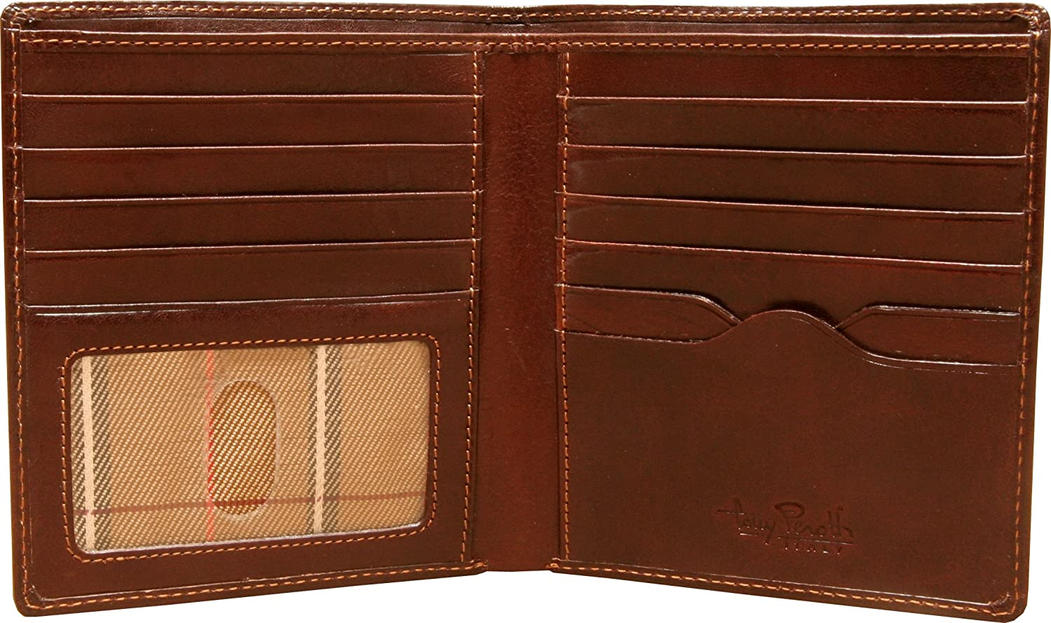 Mens Leather Bifold Hipster Wallet Large