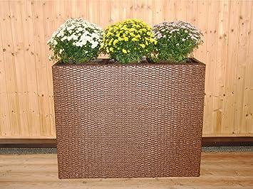 Rattan Raumteiler braun 107x86x40 m 3 Pflanzeinsätzen Pflanzkübel ...