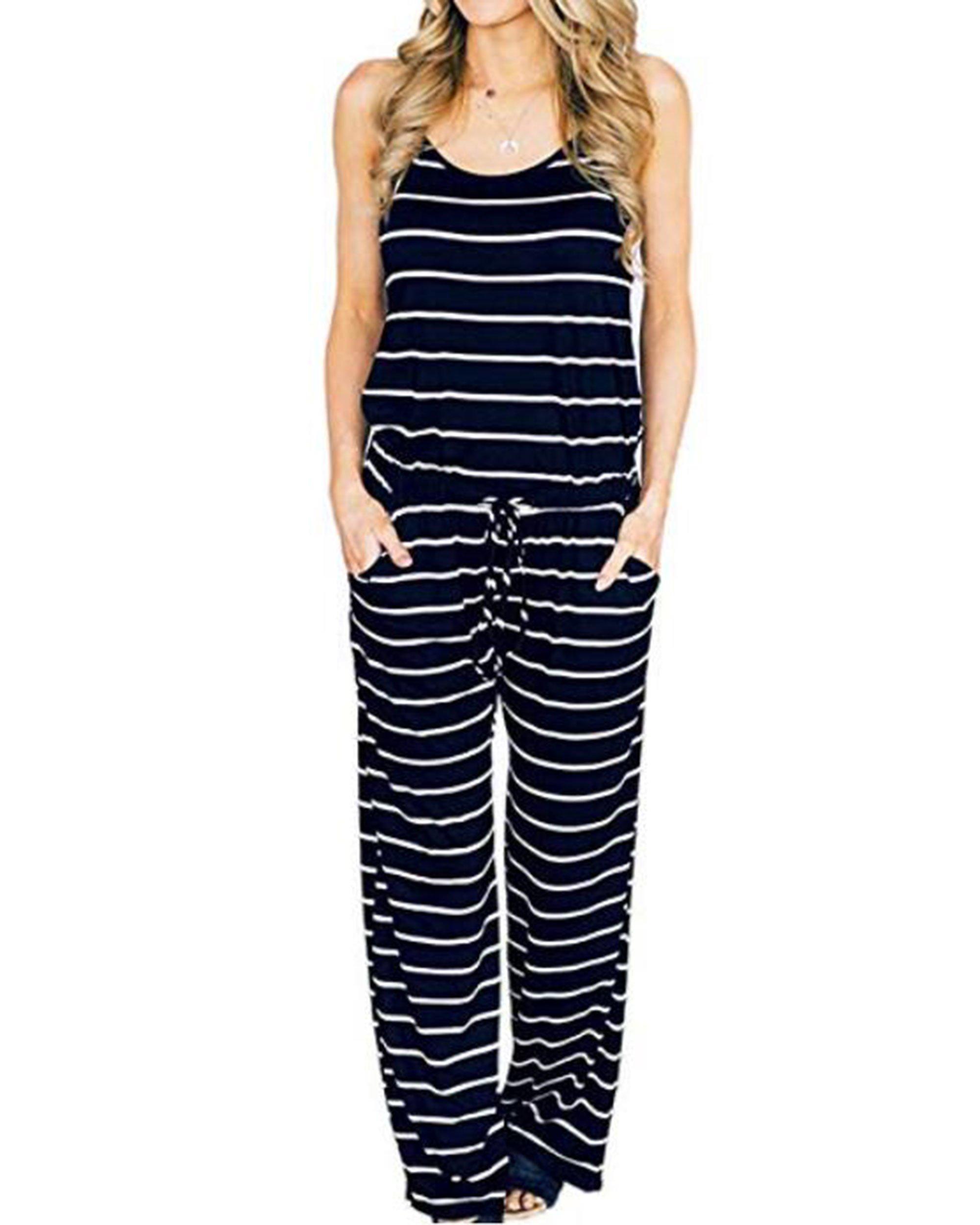 LUBERLIN Womens Flora Print Jumpsuits Halter Sleeveless Wide Long Pants Jumpsuit Rompers (Navy Blue, M)
