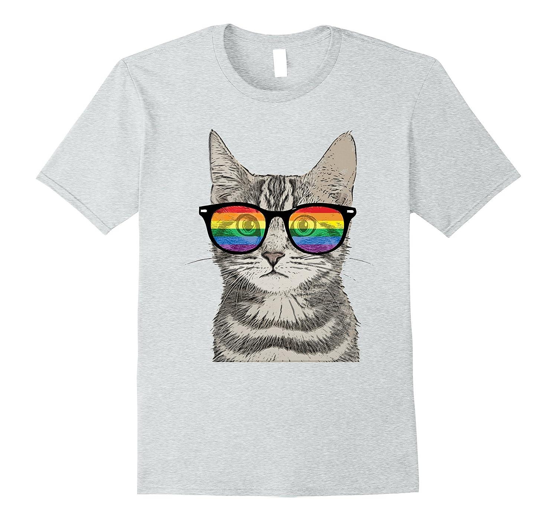 56db1bf9 Gay Pride Cat Kitten Rainbow LGBT Sunglasses Funny T-Shirt-PL ...