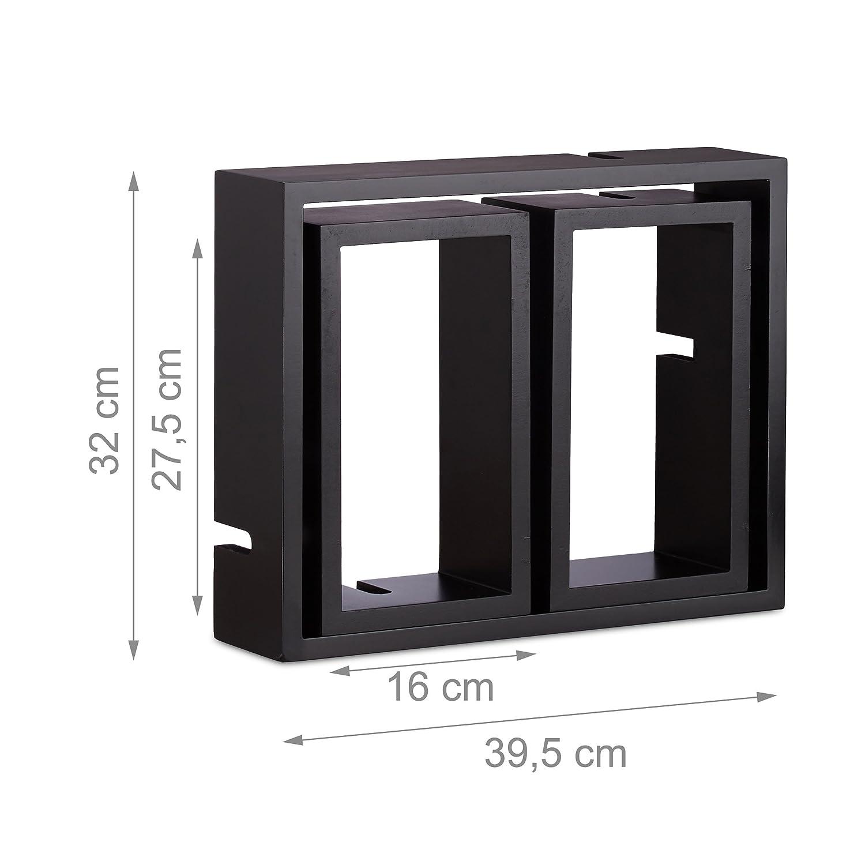 Relaxdays Estantes de Pared en Forma de Cubos Blanco Madera MDF 48x70.5x10 cm 3 Unidades