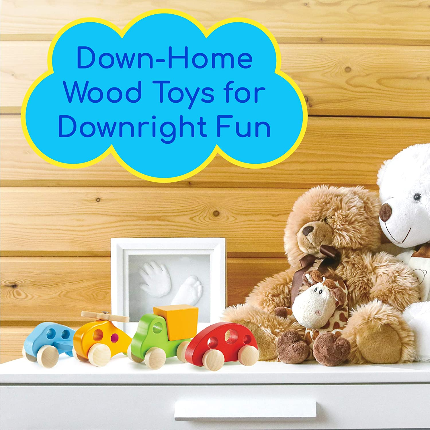 Wooden Cars Infant Toys Tummy Time Push Toys Wooden Toddler Toys Hape Wooden Toy Cars Airplane Truck and Helicopter Baby Wooden Toys 4 Vehicles