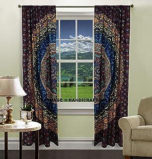 Peacock Mandala Window Curtains Indian Drape Balcony Room Decor Curtain Boho Set Urban Large Tapestry