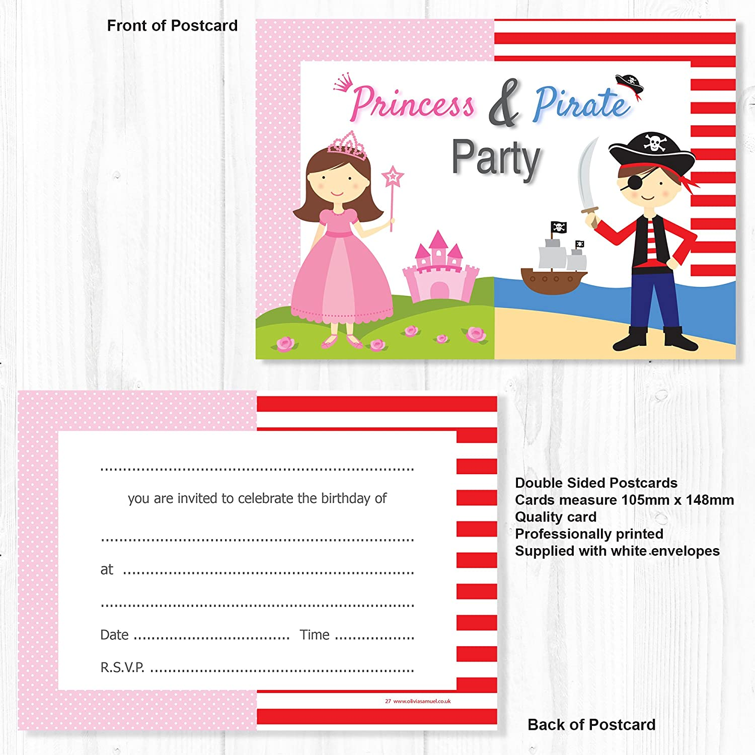 princess pirate birthday party invitations kids fancy dress