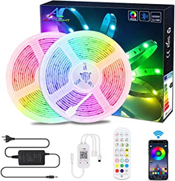 20M / 65.6Ft BluetoothLed Strip Light,ALED LIGHT Music Sync Flexible Color Changing RGB 5050 600 LEDs Rope Light Strips Kit with IR Remote App Control for Home, DIY Decoration[Energy Class A+]