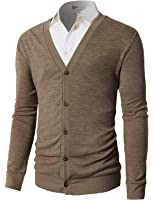 H2H Mens Casual Slim Fit Basic Designed Long Sleeve V-Neck Front Button Cardigan