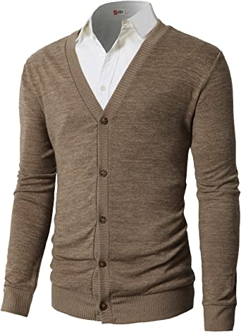 Sebaby Men Button Stylish V-Neck Solid Color Slim Fitted Cardigan Sweater