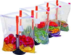 Jokari Suction Cup Fortified Baggy Rack 4 Pack For More Stability When Filling Plastic Freezer Storage Zip Lock Bags. Sturdy Clips Hold Containers Open to Pour Leftovers and Meal Prep Ingredients.