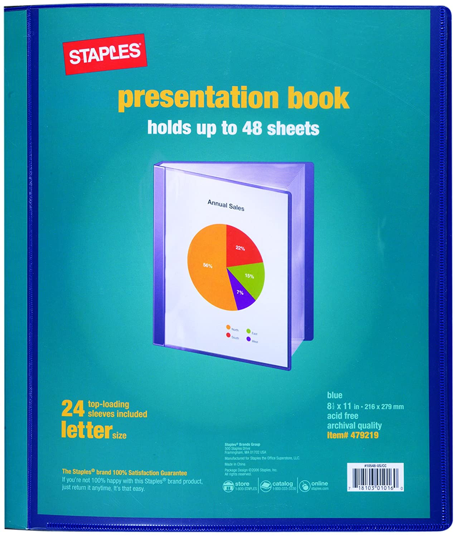 free shipping staples presentation binder 24 sleeve capacity blue