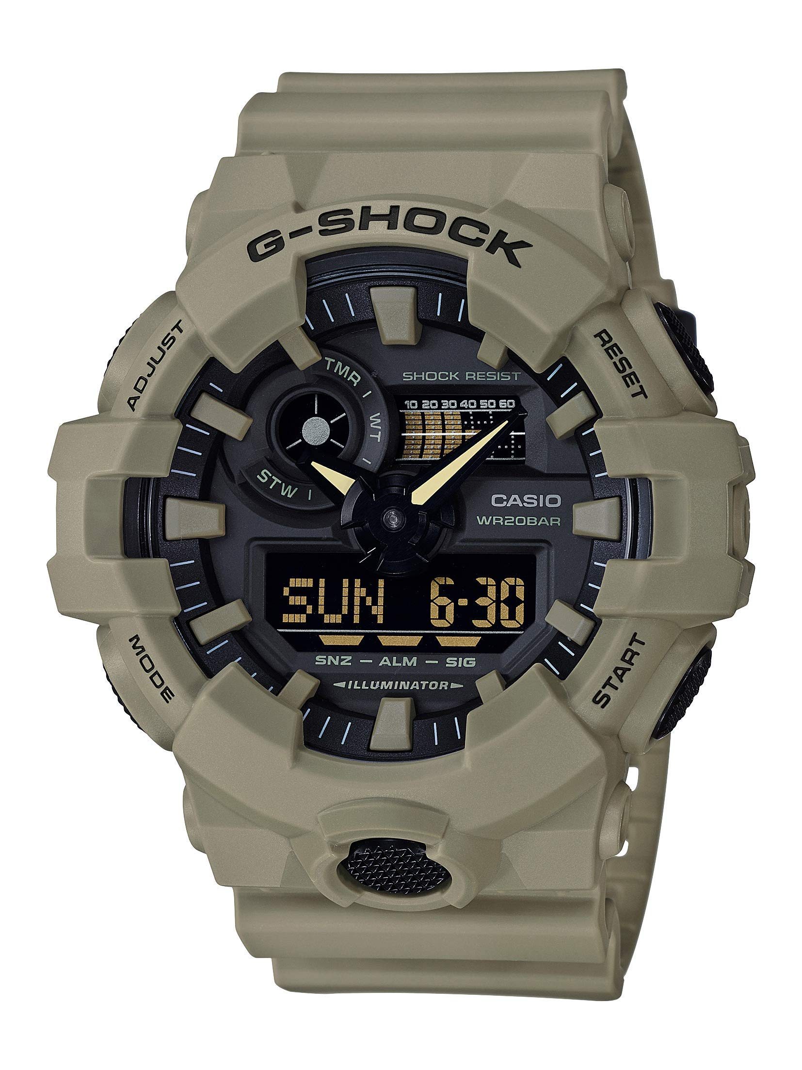 Men's G-Shock XL Series quartz Watch Resistant Strap, beige, 25.8 (Model: GA-700UC-5ACR)