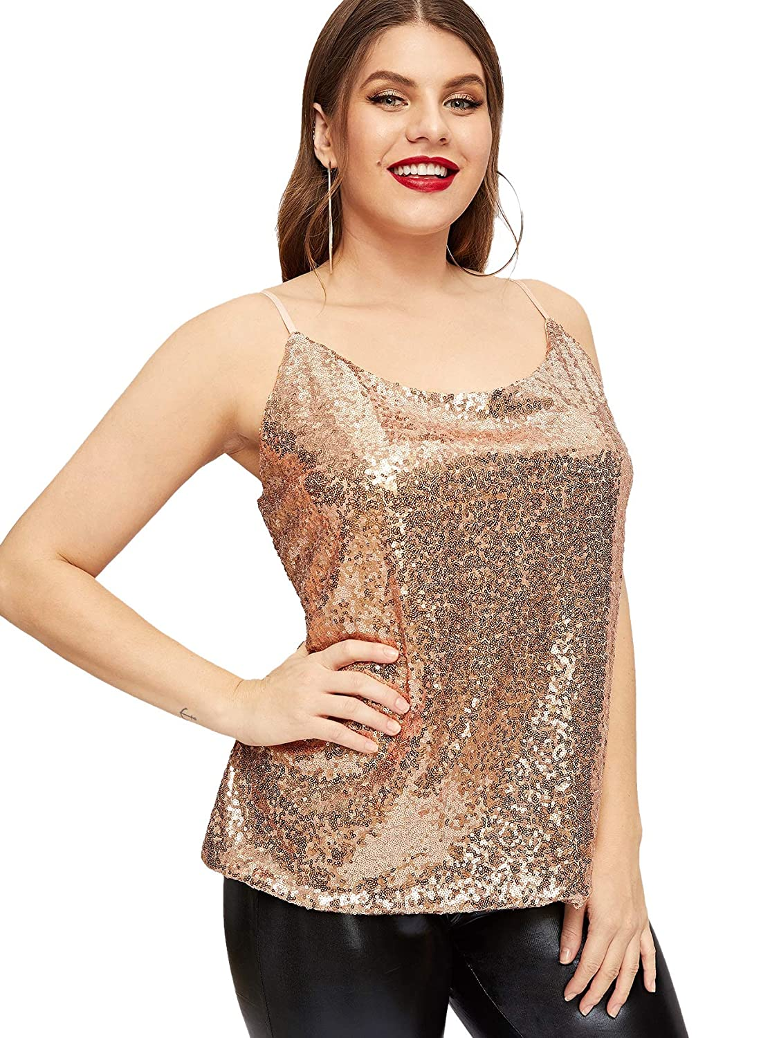 b553fd1ffbb294 Romwe Women's Plus Sequin Vest Sleeveless Strap Party Cami Tank Tops at  Amazon Women's Clothing store: