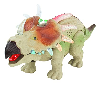 amazon com walking triceratops dinosaur toy figure with many lights