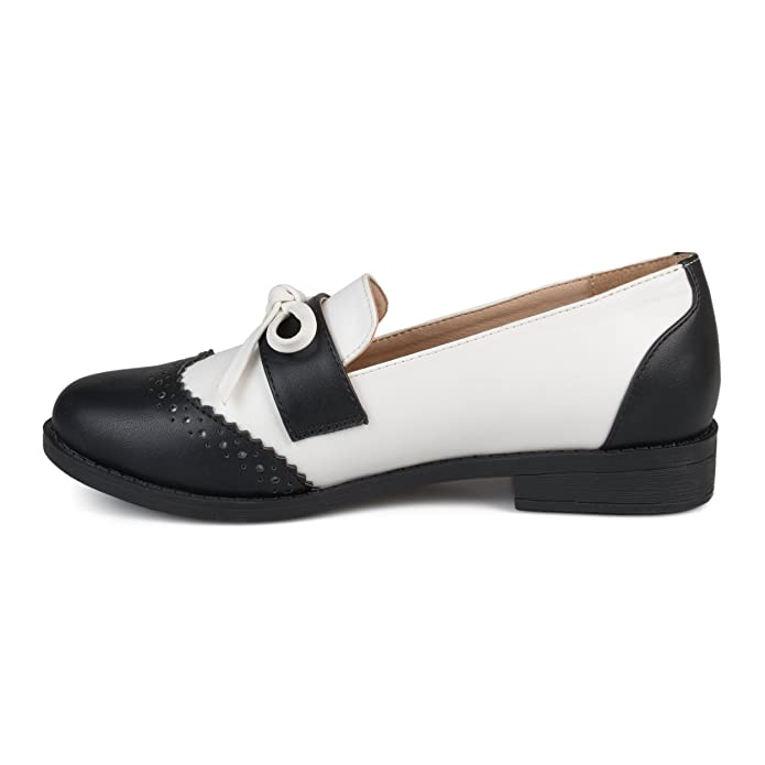 Vintage Style Shoes, Vintage Inspired Shoes Brinley Co. Womens Faux Leather Bow Accent Wingtip Loafers $29.99 AT vintagedancer.com