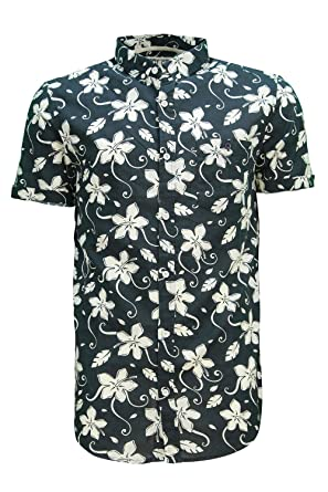faf75cb605a Soul Star Tiki Mens All Floral Print Short Sleeved Summer Shirt Navy - X- Large