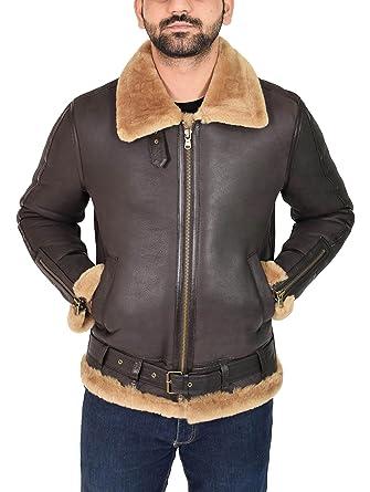 288c83b2b8794 House Of Leather Chaqueta de Piel de Oveja para Hombre B3 Cuero de Volador  Clásico Piloto