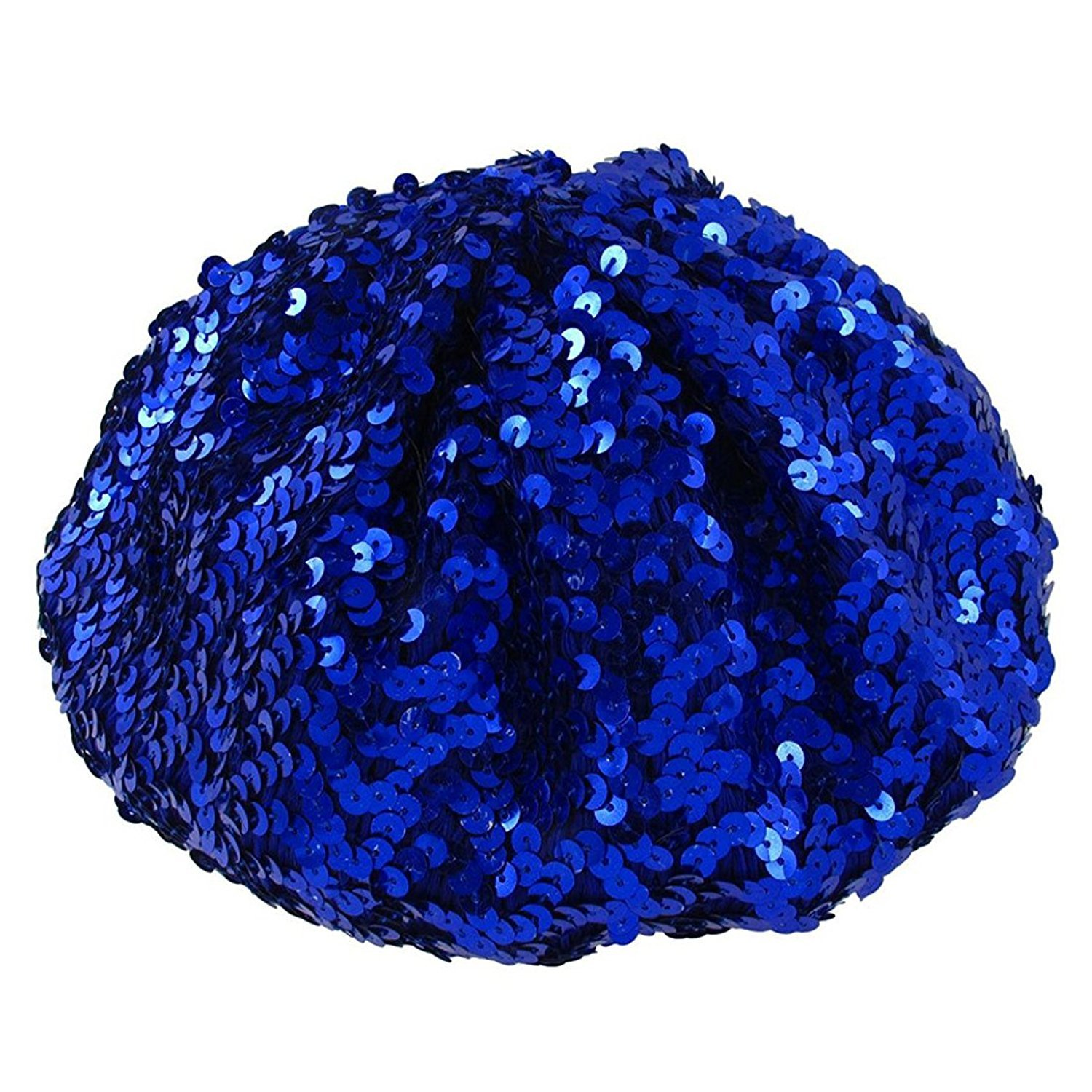 TOOGOO(R) Lady Costume Stretch Sparkly Shining Sequin Beret Beanie Hat Dark Blue 114966A2