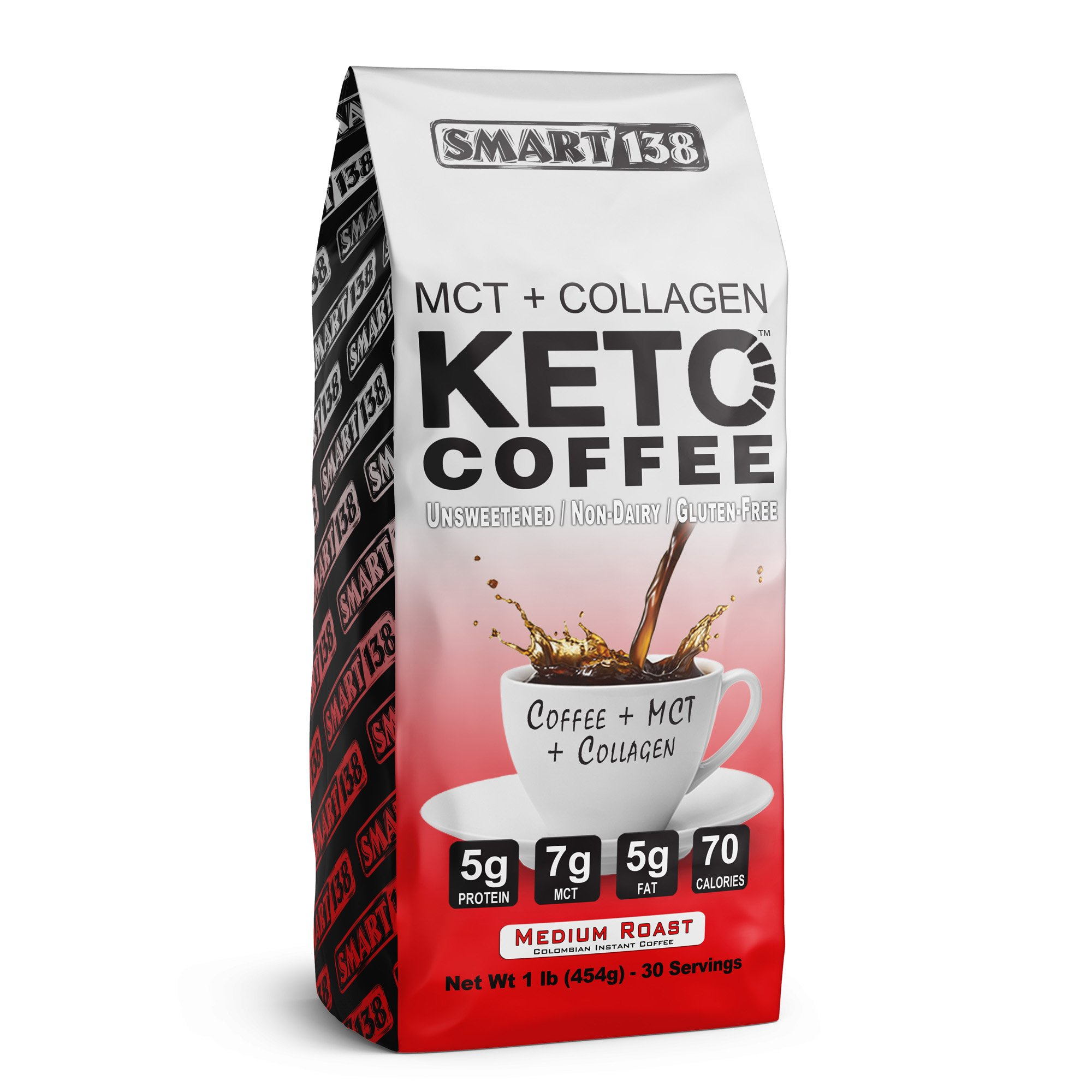 Keto Coffee - Zero Sugar, Colombian Instant Coffee, Non-Dairy, Gluten Free, Ketogenic/Paleo Diet Approved, 125mg Caffeine (16oz /30 Servings)