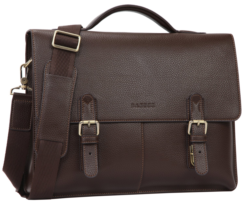 Banuce Vintage Faux Leather Briefcase for Men PU Business Tote Messenger Satchel 14'' Laptop Bag Orgainzer