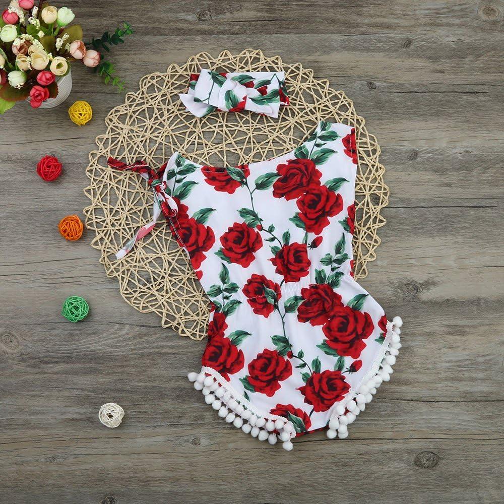 Toraway 2PCS Set Infant Kids Baby Girls Sleeveless Rose Flower Romper Jumpsuit Sunsuit Headband Outfits Set