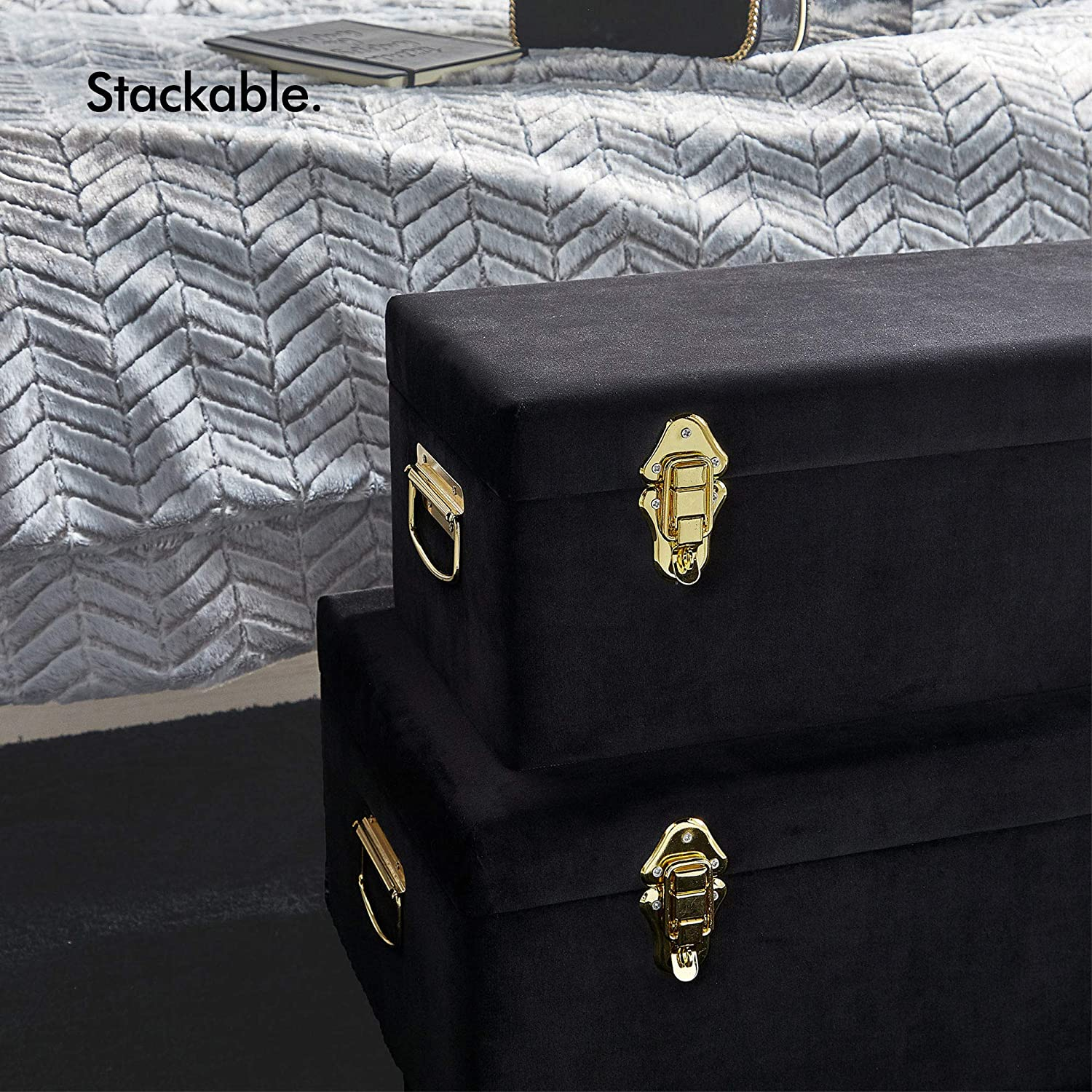 Beautify Set of 2 Grey Velvet Storage Trunks Chests Box Case for Bedroom, Living Room - Grey & Rose Gold with Handles Black