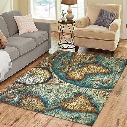 InterestPrint Home Decoration Antique Map Area Rug 7u0027 X 5u0027, Vintage World  Map