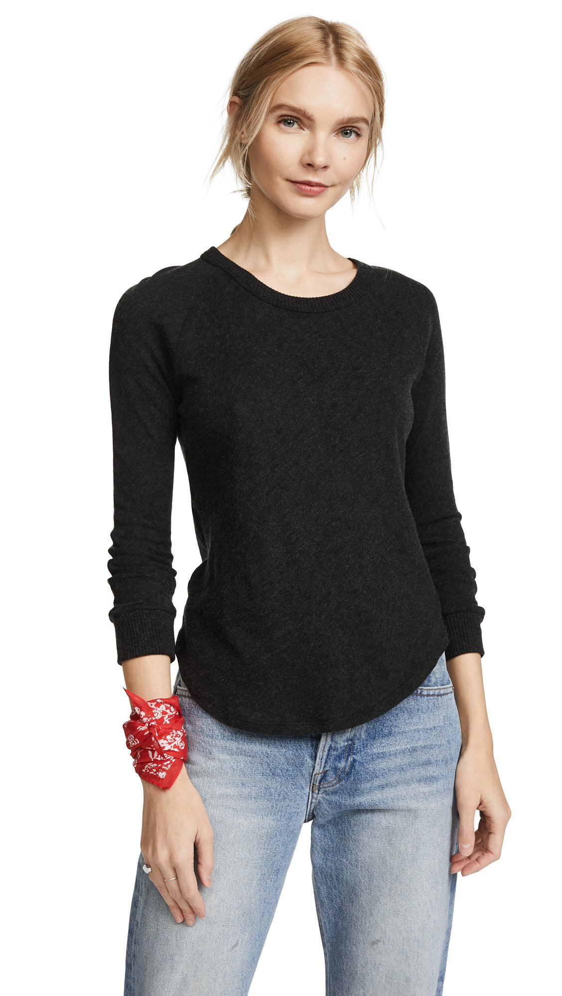Enza Costa Women's Cashmere Cuffed Baseball Tee, Charcoal, Small