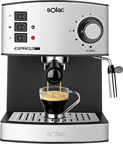 Solac CE4480 Espresso-Cafetera de 19 Bares con vaporizador, 850 W, 1.25 litros, 0 Decibeles, Acero Inoxidable: Solac: Amazon.es: Hogar