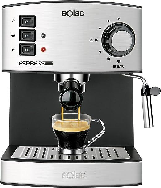 Oferta amazon: Solac CE4480 Espresso-Cafetera de 19 Bares con vaporizador, 850 W, 1.25 litros, 0 Decibeles, Acero Inoxidable