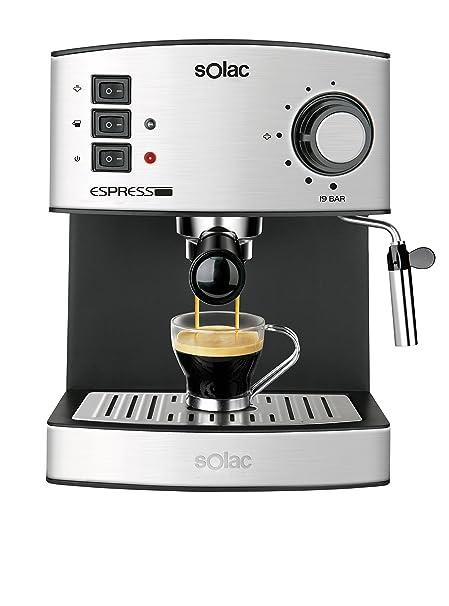 Solac CE4480 Espresso-Cafetera de 19 Bares con vaporizador, 850 W, 1.25 litros, 0 Decibeles, Acero Inoxidable