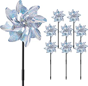 UPINS 8PCS Reflective Pinwheels with Stakes, Extra Sparkly Pin Wheel for Garden Yard Decor, Bird and Animal Deterrent Device