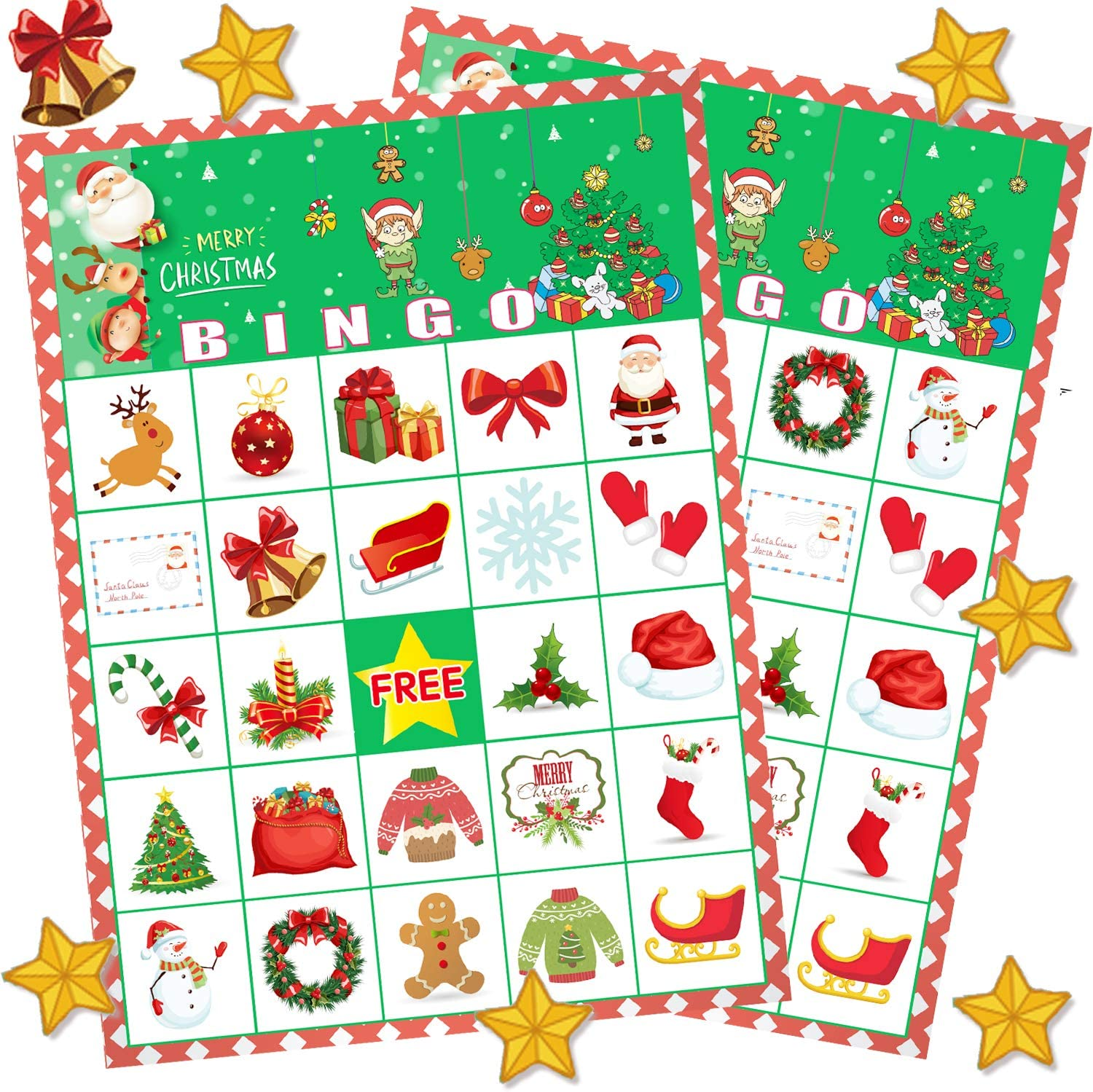 Amazon Com Funnlot Christmas Bingo Game For Large Group Christmas Party Games For Kids 24 Players Christmas Activities Christmas Bingo Cards For School Classroom Family Activities Christmas Party Supplies Toys Games