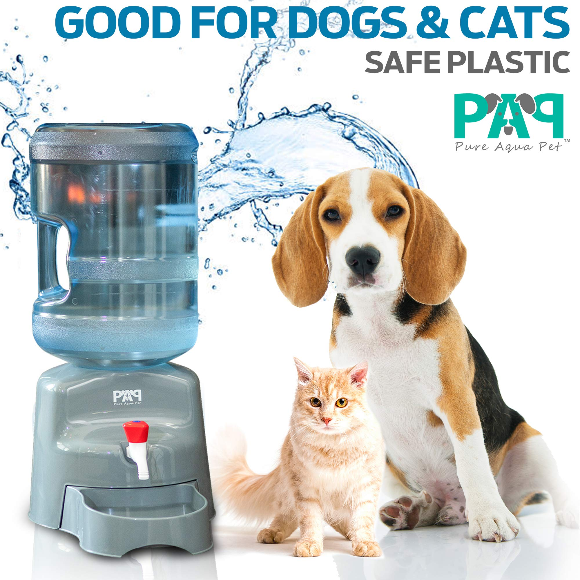 New! Pet Water Dispenser - Fits Any 5 Gallon Water Bottle! - No Filters Required - Easy to Use & Clean - Pet Water Dispenser for Dogs & Cats - Safe Plastic. by PAP