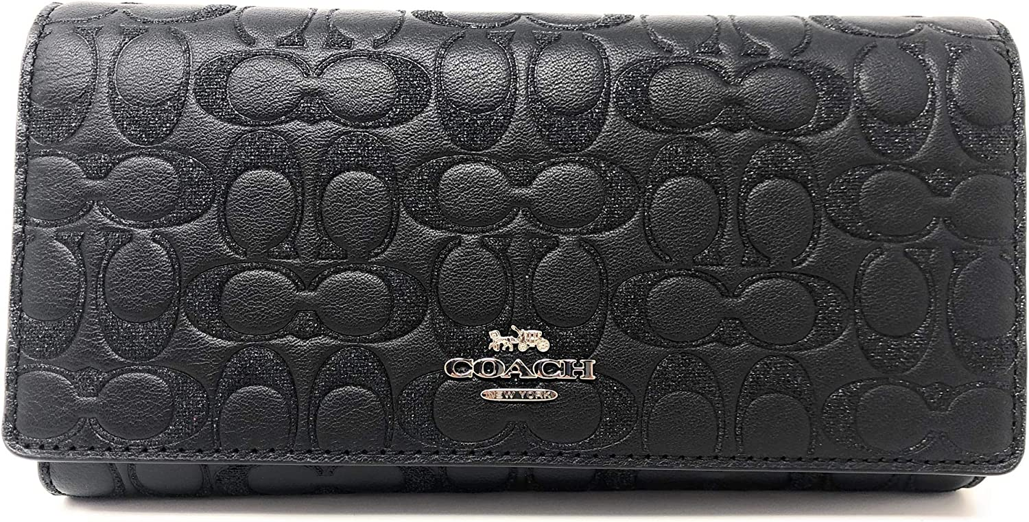 Coach Trifold Wallet Card Case in Glitter Signature Leather Packaged in a Coach Gift Box F83504 (SV/BLACK)