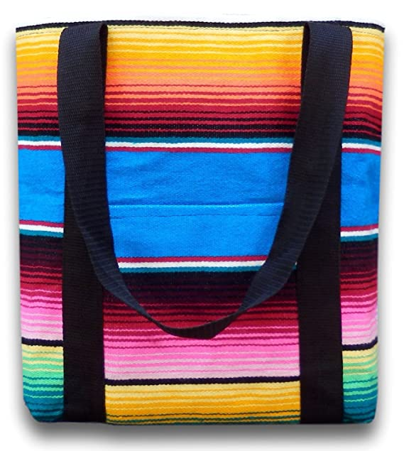 Handmade Tote Bag From Authentic Mexican Serape Blanket - Hippie Purse - Canvas Bag - Boho Shoulder Beach Bag