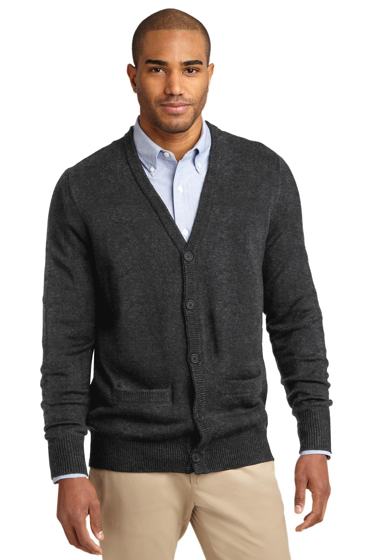 Port Authority Men's Value V Neck Cardigan Sweater with Pockets L Charcoal Grey