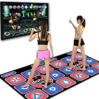Double Dance Mat for Kids Adults I Non-Slip Wireless Dancer Step Pads, W/ 150 Games and AUX Music, Levels, Plug & Play, Yoga Fitness Dancing Step Dance Mats for PC TV (B)
