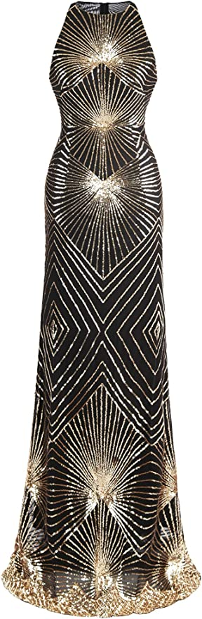 Angel-fashions Women's Gold Sequin Evening Gown